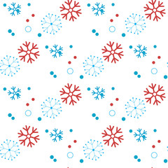Snowflakes Seamless pattern, Snow-flakes christmas background. snowfall winter backdrop. Vector