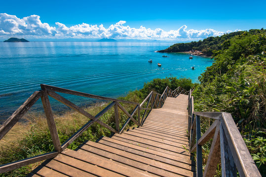 Wooden Stairs Leading to the Azeda Beach in Buzios, Rio de Janeiro State, Brazil