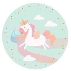 Unicorn illustration flat design isolated cute and girly