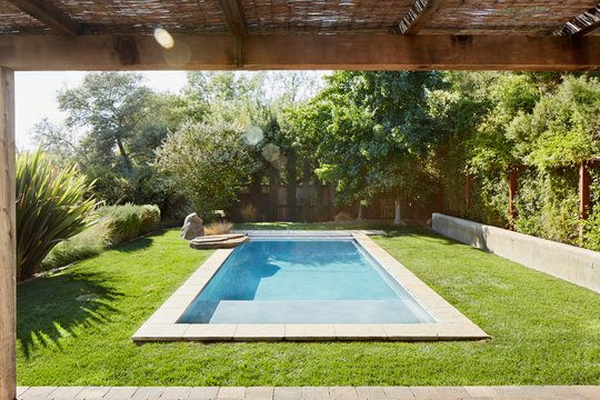 Small pool in backyard of home in California