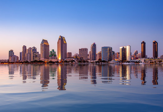 San Diego Skyline at sunset from Coronado
