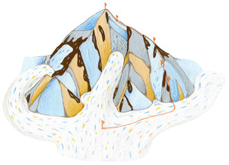 Mountain gouache and color pencils hand drawn illustration for many types of designs