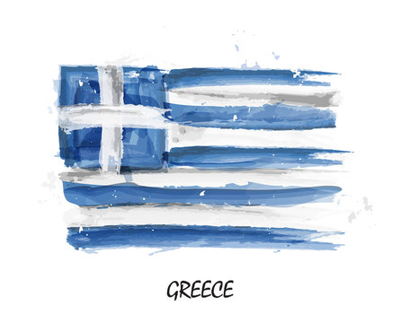 Realistic watercolor painting flag of Greece . Vector