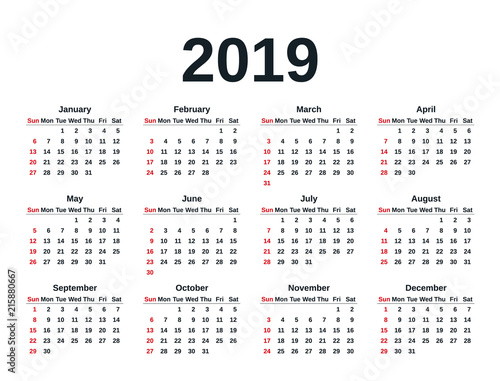Weeks Of The Year Calendar 2019 Calendar 2019 in simple style. Week starts Sunday. Vector
