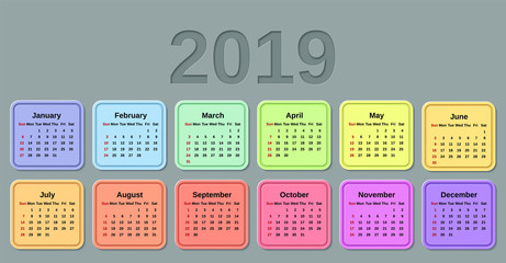 2019 Calendar. Week starts Sunday. Vector. Stationery 2019 template with months of the year. Yearly colorful calendar organizer for weeks on gray background.