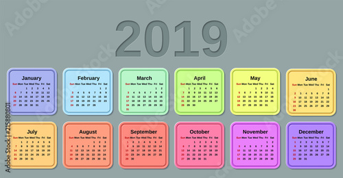 2019 calendar week starts sunday vector stationery 2019 template with months of the