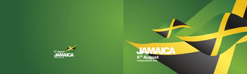 Independence Day Jamaica flag ribbon two fold landscape background