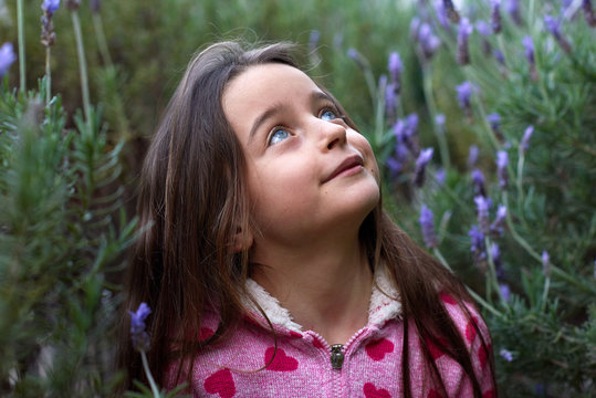 Young girl looking up between lavendar  flowers