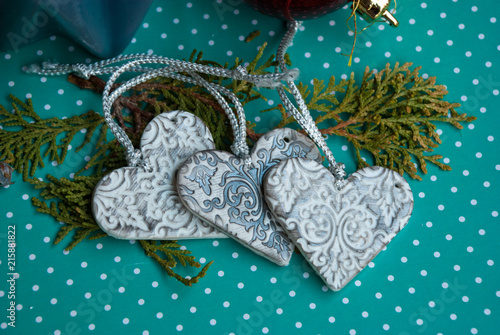 Vintage Christmas Handmade Ornaments Hearts From Polymer Clay White