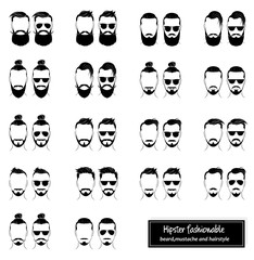 Set of mens hairstyles, beards and mustaches
