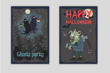 Halloween party flyers. Vector illustrations of two dancing funny ghosts with small lanterns in hands on a cemetery and zombie with axe in his back and worms in brain