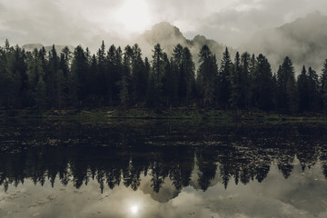 Misty mornings in the Dolomites mountains
