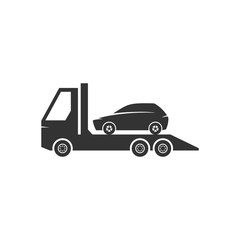 Car towing icons in black and white. Automotive vehicle maintenance service. Vector illustrations.