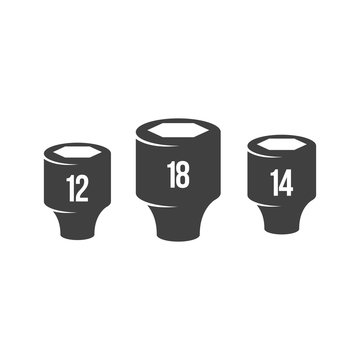 Socket wrench icons in black and white. Automotive vehicle maintenance service. Vector illustrations.
