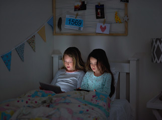 Kids faces lit up by device screens at night time
