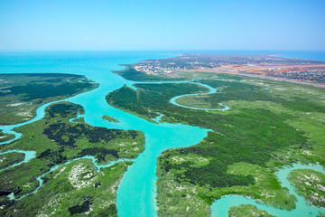 Aerial view of mangrove canals