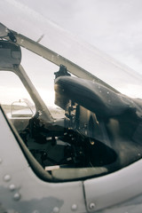 Cockpit Closeup in Small Charter Aircraft