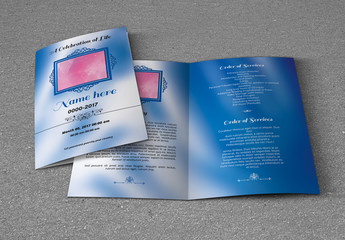 Funeral Program Layout with Blue Accents