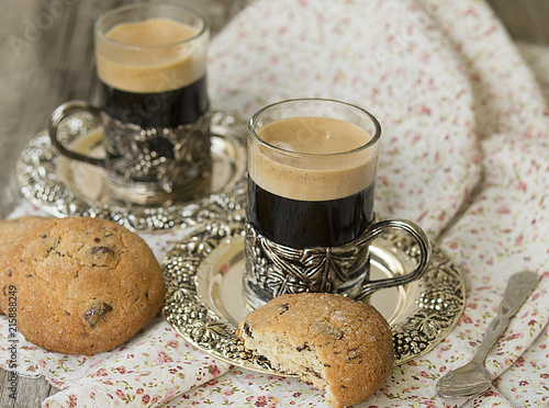 Chocolate Chip Cookies With Cup Of Coffee On Old Wooden