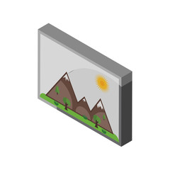Picture isometric right top view 3D icon