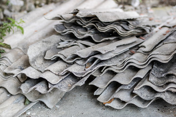 Eternit in an old farm in central europe. Old building materials used for roofing.