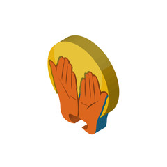 prayer hands isometric right top view 3D icon