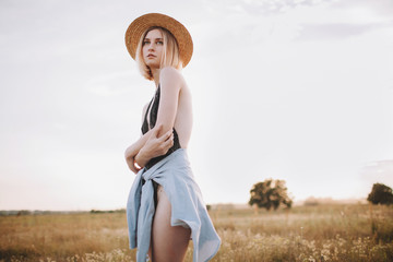 Summer portrait with beautiful blonde woman