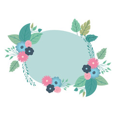 beautiful roses and leafs circular frame vector illustration design