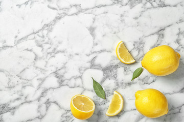 Recess Fitting Splashing water Flat lay composition with lemons on marble background