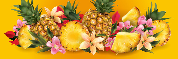 Pineapple and tropical flowers