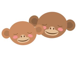 wild monkeys couple heads vector illustration design