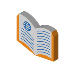 Book isometric right top view 3D icon