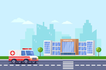 City hospital modern building, vector flat illustration. Clinic medical center, ambulance car on road.