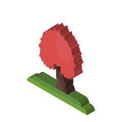 Maple tree isometric right top view 3D icon
