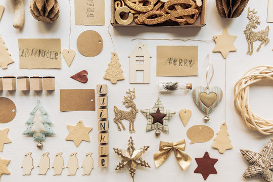 Neatly Organized Christmas Decoration On The White Table