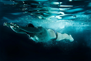 Underwater Olympic Swimmer Breaststroke