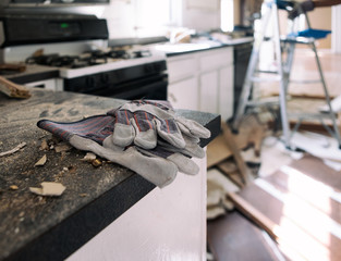 Kitchen: Work Gloves Sit On Messy Countertop