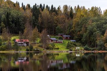 Little village along the lake in Sweden