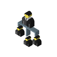 Hierarchical structure isometric right top view 3D icon