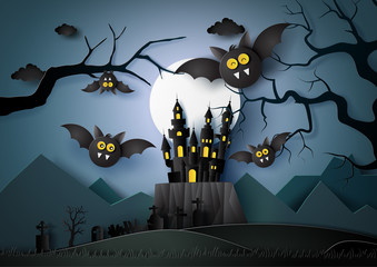 Happy Halloween with bats flying in the darknight.