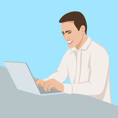 The man smiles at the laptop vector illustration flat