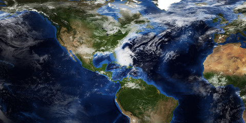Extremely detailed and realistic high resolution 3d illustration of a Hurricane approaching the USA. Shot from Space. Elements of this image are furnished by Nasa.