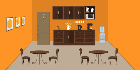 Office kitchen in orange color. Modern dining room in the office. There is a fridge, tables, chairs, a microwave, a kettle and a coffee machine in the image. There are pictures on the wall. Vector