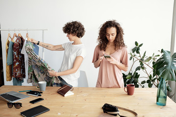 Women running small clothing business