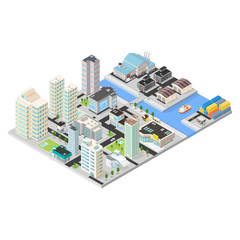 Isometric Vector City Docklands Large urban cityscape.