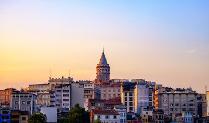 Sunset in Istanbul, Turkey. View of the Galata Tower