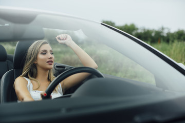 Woman road trip with car