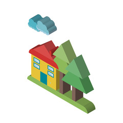 House isometric right top view 3D icon
