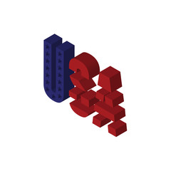 american flag isometric right top view 3D icon