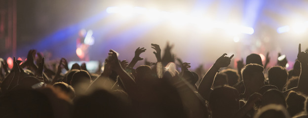 Sillhouettes of concert crowd in front of bright stage lights
